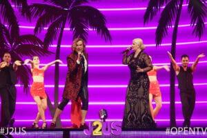 """Τρύφωνας Σαμαράς και η Χαρά Βέρρα ερμηνεύουν το """"λάμπω"""" στη σκηνή του J2US"""